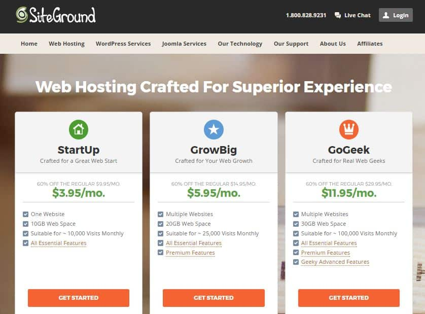 Siteground plans How to Successfully Start a Blog: 4 Steps