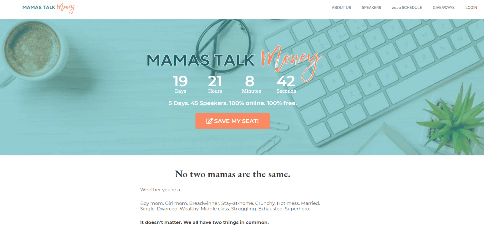 Mamas Talk Money Virtual Summit Registration Page