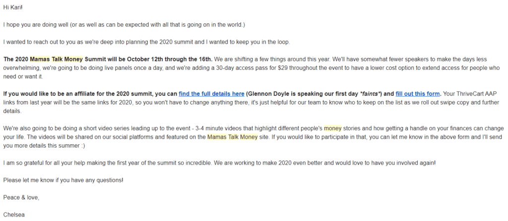Virtual Summit Outreach Email Example