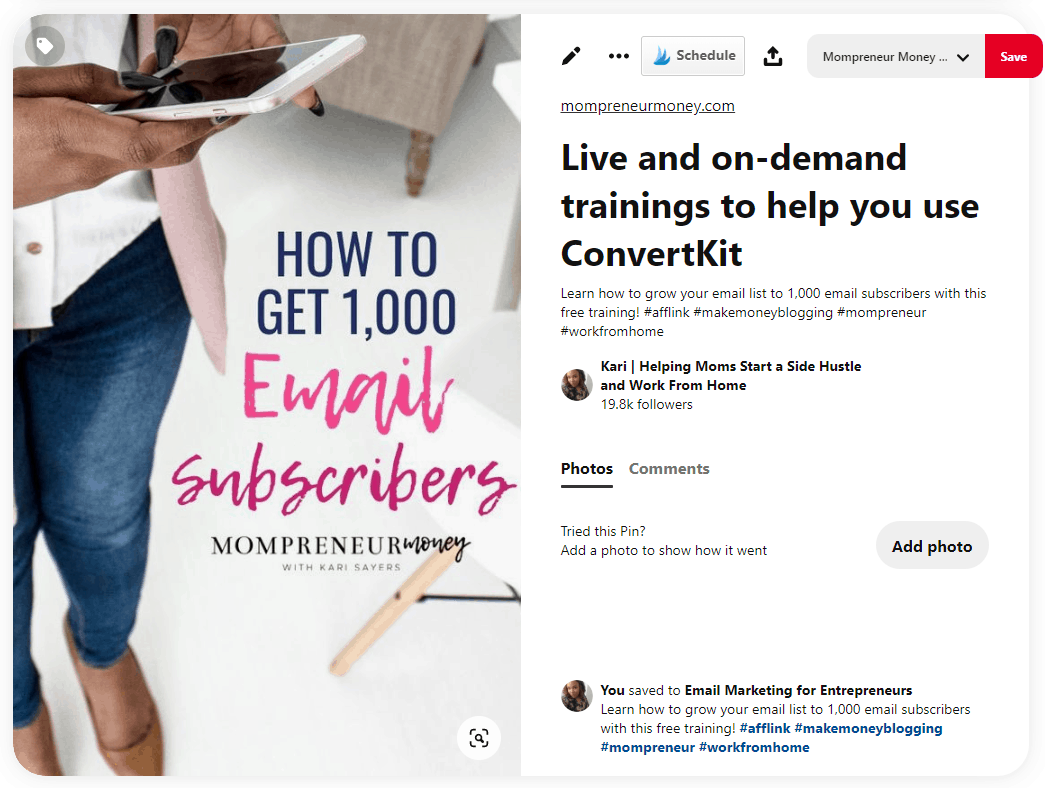 Pinterest Example for Affiliate Links